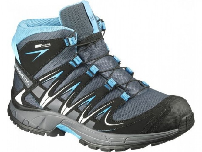 e7d5945afa Turistická obuv SALOMON XA PRO 3D MID CSWP J šedá-modrá veľkosť EUR ...