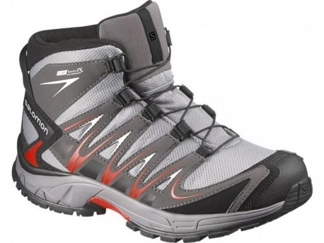 Turistická obuv SALOMON XA PRO 3D MID CSWP J šedá-červená veľkosť ... 2e88c49c842